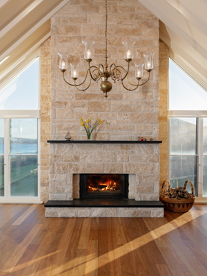 Windows shaped fireplace